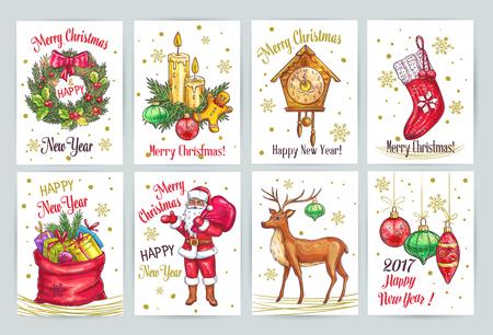 velas de navidad: Colección de la vendimia Decoración de Navidad con elementos dibujados a mano. tarjetas del bosquejo del vector con Santa Claus, árboles de Navidad, guirnalda, reloj, bolso de ciervos con regalos, abeto, rama y velas