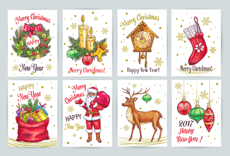 hand set: Vintage Christmas decoration collection with hand drawn elements. Sketch vector cards with Santa Claus, Christmas tree, wreath, clock, deer bag with gifts, fir, branch and candles