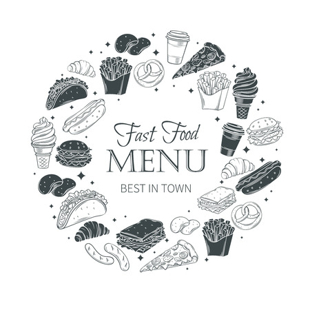 sandwich board: Vector fast food round banner. Fast food monochrome decorative icons. Illustration