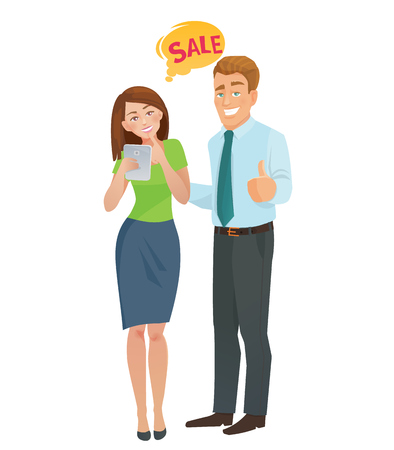 happy woman: Sales e-commerce concept man and woman. Vector illustration. Illustration