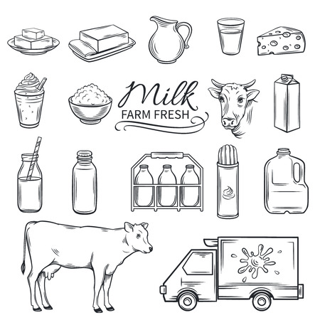 Set Hand drawn decorative milk icons. Vector illustration farm milk product in old ink style.