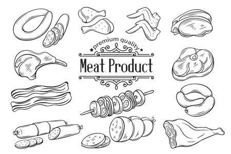 veal sausage: Set hand drawn monochrome icon meat. Decorative meat icons in old style for the design food meat production , brochures, banner, restaurant menu and market