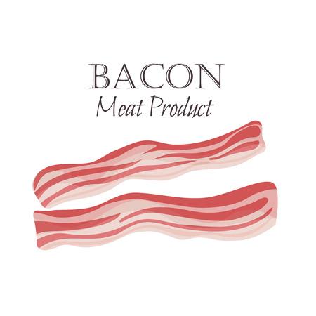 Illustrazione vettoriale di strisce di pancetta in stile cartone animato. Disegno del prodotto di carne.