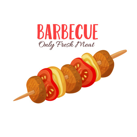Barbecue vector illustration . Meat skewers in cartoon style. Meat product design.
