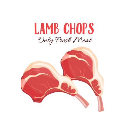 ラムチョップのベクトル イラスト漫画のスタイルで。肉製品の設計。