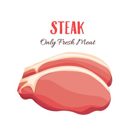 Steak vector illustration in cartoon style. Meat product design.