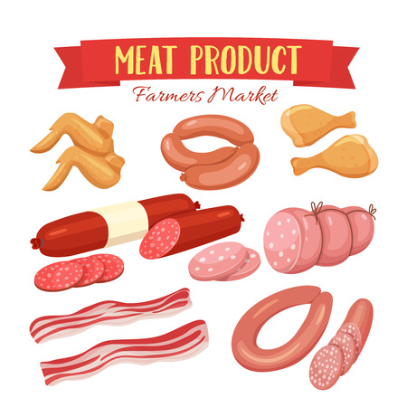 chicken wings: Delicatessen icons set illustration , chorizo, sausage , chicken wings, chicken legs, ham, salami slices, sausage . Meat product vector isolated on white background in cartoon style.