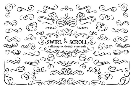 scroll design: Set vector flourishes. Calligraphic and page decoration design elements. Swirl, scroll and divider.