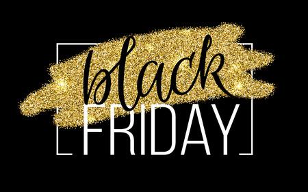 Black Friday Lettering Sale Discount banner. Gold glitter sparkles design. Vector Illustration.