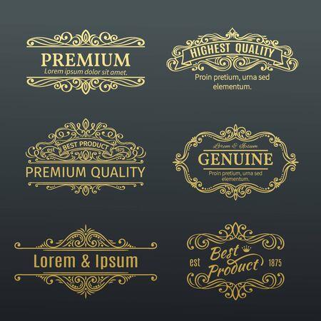 Cadres Vintage Vector Bannières or étiquettes. Éléments de conception calligraphiques. Remous décoratifs, rouleaux, diviseurs et décoration de page.
