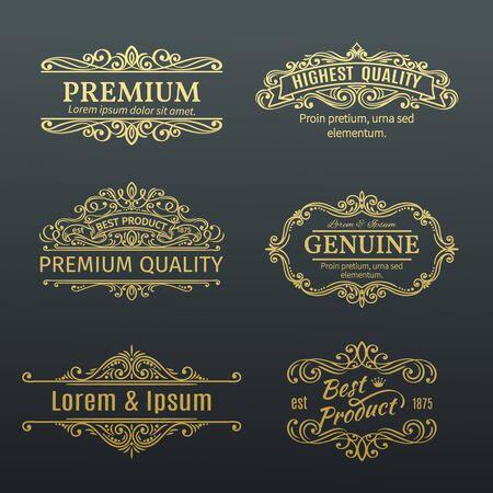 golden frames: Vintage Vector Golden Banners Labels Frames. Calligraphic Design Elements . Decorative Swirls, Scrolls, Dividers and Page Decoration. Illustration