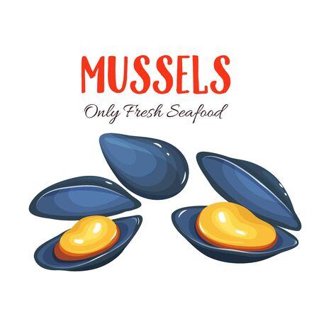 Cozze illustrazione vettoriale in stile cartone animato. progettazione del prodotto frutti di mare.