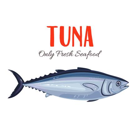 thunnus: Tuna Fish vector illustration in cartoon style. Seafood product design. Illustration