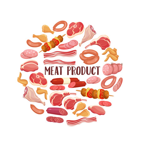 Meat products in cartoon style. Vector icons steak , barbecue, lamb, chops, bacon, chorizo, sausage, chicken wings, chicken legs ham salami and slices sausage Illustration
