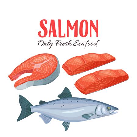 Establecer ilustración de vector de salmón. Filete, filete y salmón pescado en estilo de dibujos animados. Diseño de productos pesqueros. Ilustración de vector