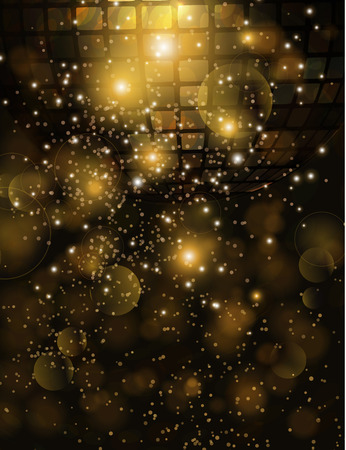Vector template background with sparkles glitter and disco ball for parties. Vettoriali