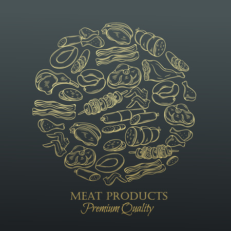 old page: Set hand drawn monochrome icon meat. Decorative meat icons in old style for the design food meat production , brochures, banner, restaurant menu and market. Golden design template, page decoration. Illustration