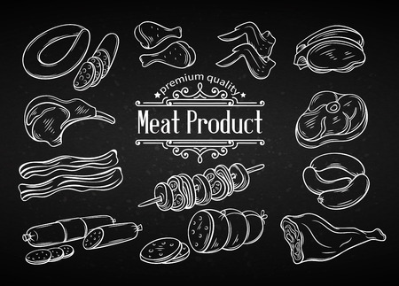 Establecer la carne icono en blanco y negro dibujado a mano. iconos de carne decorativos de estilo antiguo para la producción de carne de alimentos de diseño, folletos, banners, el menú del restaurante y el mercado. Tiza estilo del tablero. Ilustración de vector