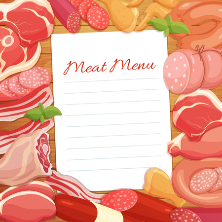 sausages: Gastronomic meat products menu design. Vector icons steak , barbecue, lamb, chops, bacon, chorizo, sausage, chicken wings, chicken legs ham salami and slices sausage