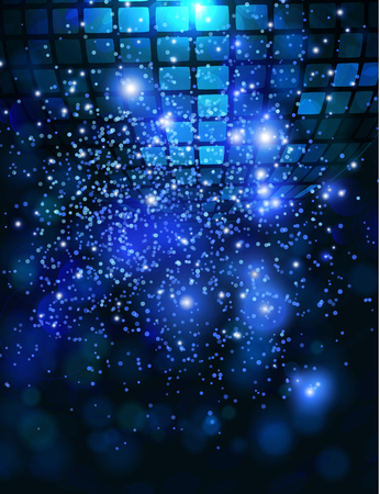 disco: Vector template background with sparkles glitter and disco ball for parties. Illustration