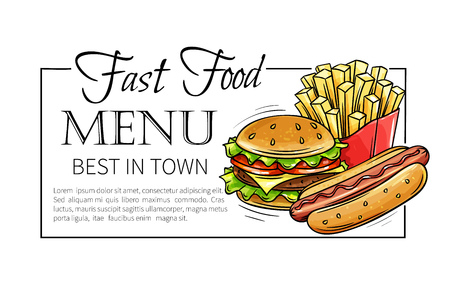 Fast food design menu. Vector hand drawn icons fast food. Illustration with snacks, hamburger, fries, hot dog, tacos, coffee, sandwich, ice cream in old style.