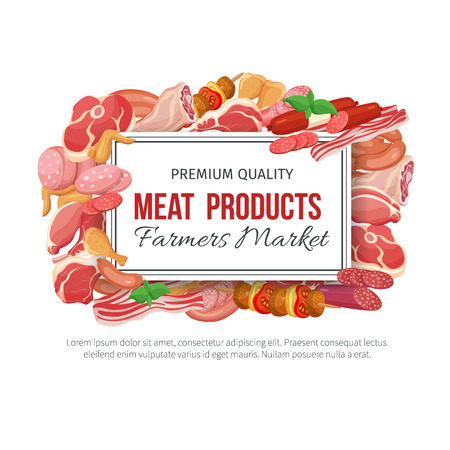 meat steak: Gastronomic meat products banner menu design. Vector icons steak , barbecue, lamb, chops, bacon, chorizo, sausage, chicken wings, chicken legs ham salami and slices sausage