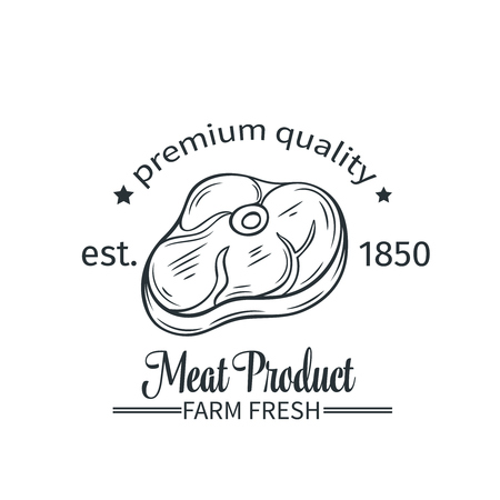 meat steak: Vector badge meat product. Logo steak, emblem in old style.