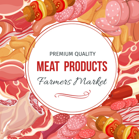 chops: Gastronomic meat products menu design. Vector icons steak , barbecue, lamb, chops, bacon, chorizo, sausage, chicken wings, chicken legs ham salami and slices sausage
