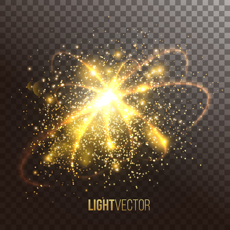 light effect: Background with sparkles and glitter , glow light effect. Vector illustration. Illustration