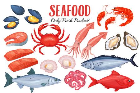 漫画のスタイルのシーフード。ベクトル アイコン ムール貝、魚のサケ、エビ、イカ、タコ、ホタテ、ロブスター、クラップス、軟体動物、牡蠣、金
