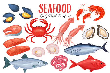 Seafood in cartoon style. Vector icons mussel, fish salmon, shrimp, squid, octopus, scallop, lobster, craps, mollusk, oyster, alfonsino and tuna. 免版税图像 - 68973342