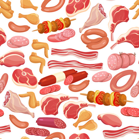 veal sausage: Seamless meat products . Vector background with steak , barbecue, lamb, chops, bacon, chorizo, sausage, chicken wings, chicken legs ham salami and slices sausage