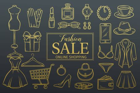 clothing store: Hand drawn fashion online shop icons set. Illustration
