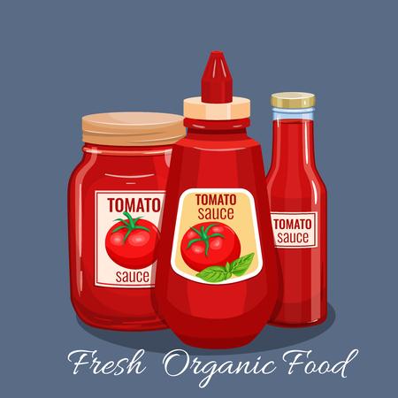ketchup bottle: Tomato sauce bottle. Vector illustration for restaurant menu.