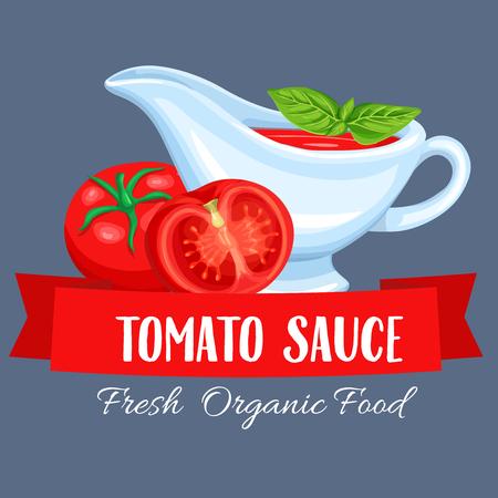 Saucers with tomato sauce. Label restaurant menu vector illustration.