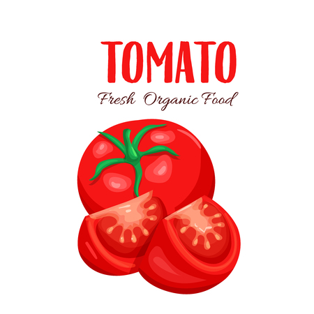 photorealistic: Vector tomato sliced. Red farm vegetable isolated in cartoon style for emblem sauce. Stock Photo
