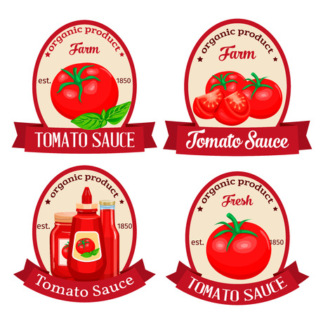 Set of labels for design of tomato product sauce ketchup. Vector illustration. Ilustrace