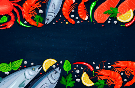 frozen meat: Vector seafood. Healthy food cooking concept. Illustration