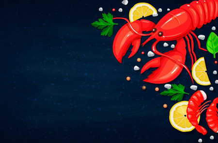 Vector seafood. Healthy food cooking concept. Illustration