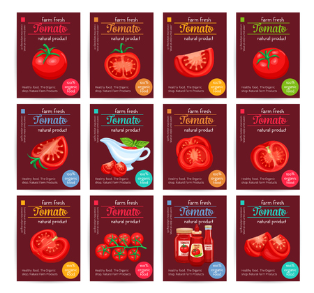 tomato sauce: Tomato product sauce ketchup poster set. Illustration