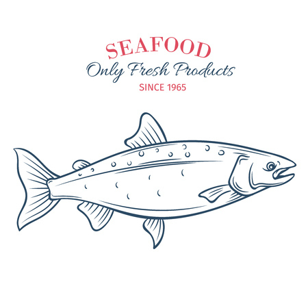 Hand drawn salmon icon. Illustration