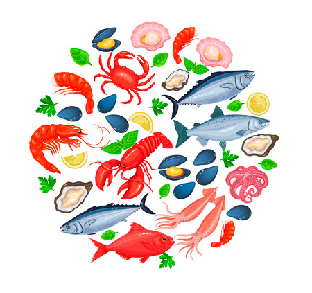 Vector icons seafood