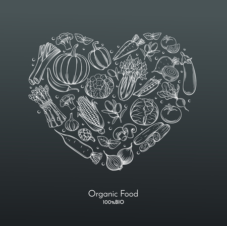 artichoke: heart composition with hand drawn vegetables