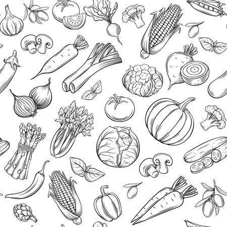 Hand drawn vegetables seamless pattern. Çizim