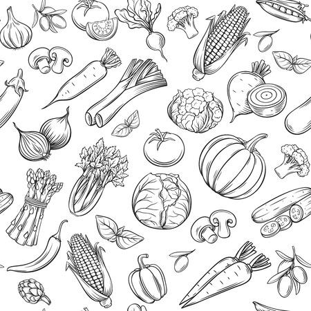 Hand getrokken groenten naadloos patroon. Stock Illustratie