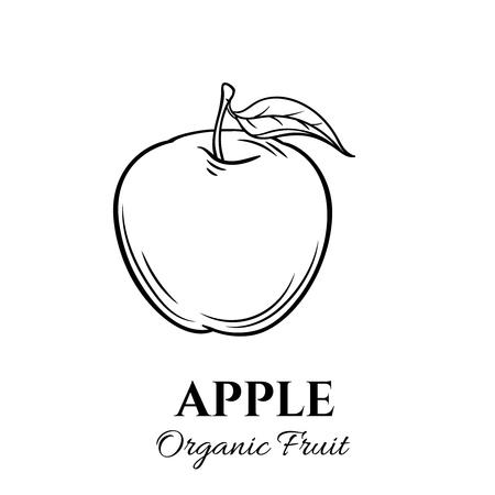 summer diet: Hand drawn apple icon.