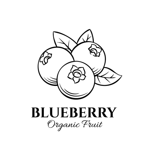 Hand drawn blueberry icon. Vector badge fruit in the old ink style for brochures, banner, restaurant menu and market