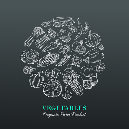 vegetables on white: Poster round composition with hand drawn vegetables for farmers market menu design. White on black. Healthy food concept. Vector vintage illustration.