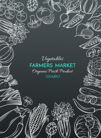 vegetables on white: Poster template with hand drawn vegetables for farmers market menu design. White on black. Vector vintage illustration. Illustration