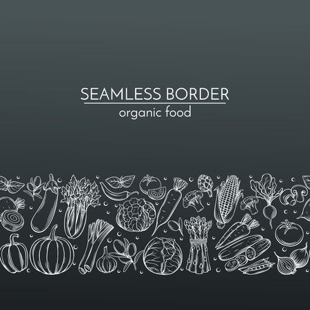 農民市場メニュー デザインの手描き野菜とシームレスな境界線。黒地に白。ベクトル ビンテージ イラスト。